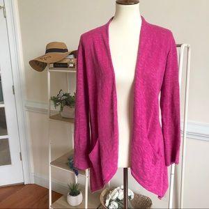 Eileen Fisher pink linen blend open cardigan